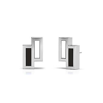 Simon Pagenaud Sterling Silver Asymmetric Enamel Stud Earrings In Black and White