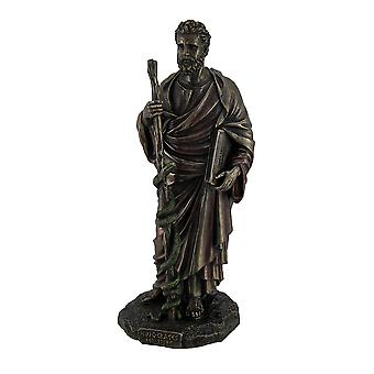 Hippocrates Griekse vader van de geneeskunde met boek & personeel Pewter Finish beeld