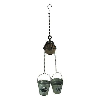 Rustic Farmhouse Double Pail and Pulley Indoor/Outdoor Hanging Planter
