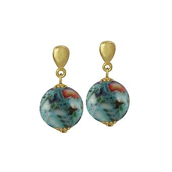 Eternal Collection Madreperla Turquoise Mother Of Pearl Shell Gold Tone Drop Pierced Earrings