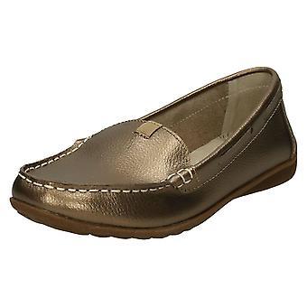 Ladies jordnära läder Loafers F80422