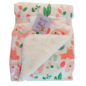 Blanco rosa selva animales Mink y Sherpa Fleece forrado manta de bebé
