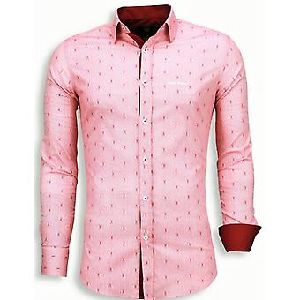 E Shirts - Slim Fit - Wire Pattern - Red