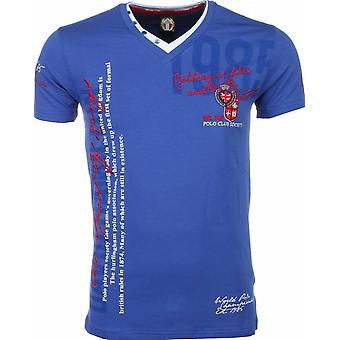 E T-shirt - Short Sleeves - Embroidery Polo Club - Blue