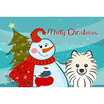 Carolines Treasures  BB1827PLMT Snowman with Pomeranian Fabric Placemat