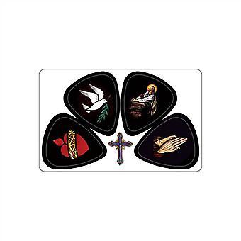 3 PikCard Guitar Picks/Plectrums - Worship Multi - Pack of 3 - 12 Picks - Medium 0.75mm