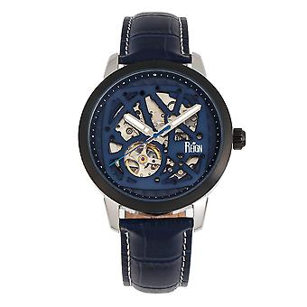 Reign Rudolf Automatic Skeleton Leather-Band Watch - Navy