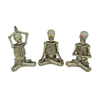 Bot brancards yoga skelet beeldjes met LED ogen set van 3