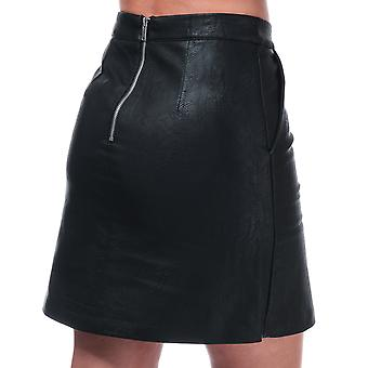 Womens Only Lisa Faux Leather Skirt In Black- Short Skirt- Pockets To Sides- Zip