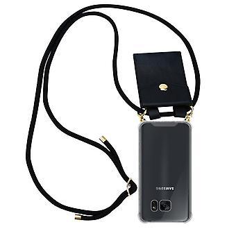 Cadorabo étui de chaîne de téléphone pour Samsung Galaxy S7 EDGE case cover - cas de cape collier en silicone avec des anneaux d'or - cordon de bande de cordon et boîtier de protection amovible