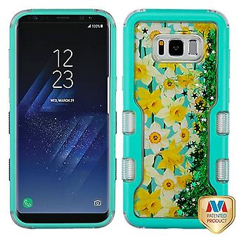MYBAT Natural Teal Green/Spring Daffodils & Green Meteor Shower TUFF Quicksand Glitter Hybrid Case for Galaxy S8 Plus