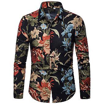 Allthemen Men's Slim Fit Floral Cotton Casual Long Sleeve Shirt