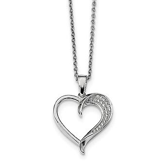 925 Sterling Silver Pave Rhodium plated Lobster Claw Closure and CZ Cubic Zirconia Simulated Diamond Polished Love Heart