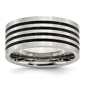 Stainless Steel Engravable Brushed Black Rubber 10.00mm Ring Jewelry Gifts for Women - Ring Size: 8 to 14