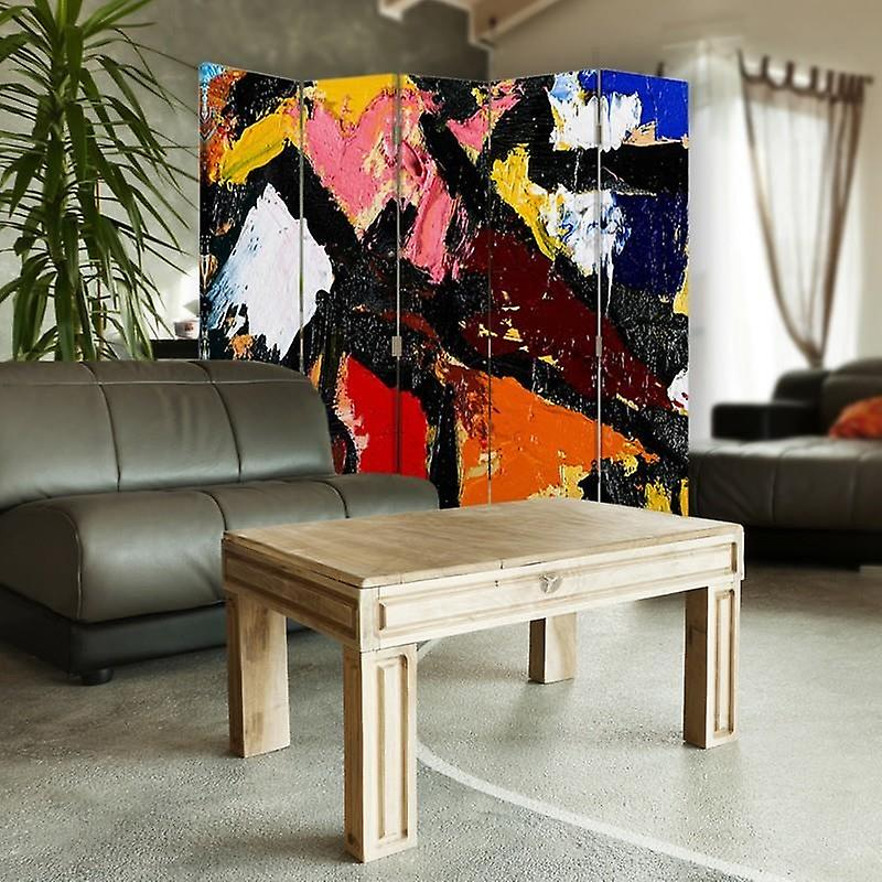 Diviseur de chambre, 5 panneaux, double-sided, 360 rotatable, toile, art abstrait