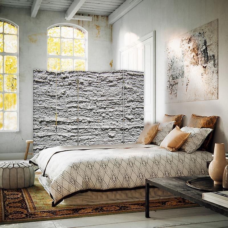 Diviseur de chambre, 5 panneaux, double-sided, 360 rotatable, toile, plâtre gris