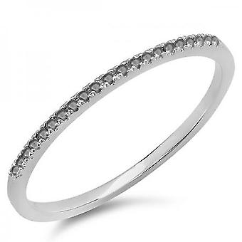 Dazzlingrock Collection 0.08 Carat (ctw) 14k Round Black Diamond Ladies Dainty Anniversary Stackable Band, White Gold