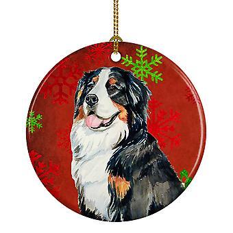 كلب جبل Bernese الثلج الأحمر عطلة عيد الميلاد زخرفة السيراميك LH9334