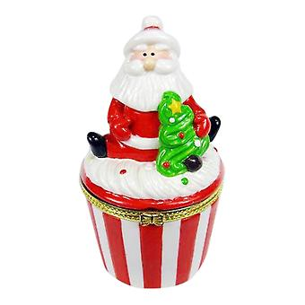 Santa Claus Holiday Cupcake Hinged Trinket Box