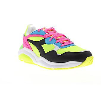 Diadora Whizz Run Fluo FL  Mens Black Green Low Top Sneakers Shoes