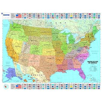 U.S.A Political  Michelin rolled  tubed wall map Paper