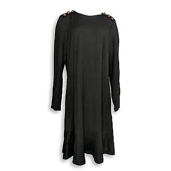 دو جور فستان طويل الأكمام بونتي Knit الأسود A295385