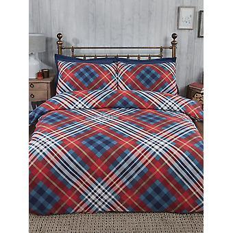 Tartan gebürstete Baumwolle einzelne Bettbezug Set - rot