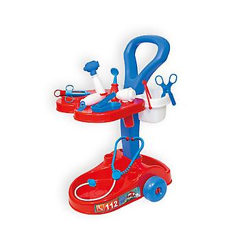 Mochtoys pediatric trolley 10318 with lots of accessories, such as stethoscope, syringe and much more.