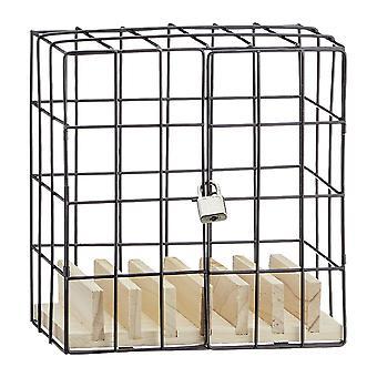 Mobiele telefoon fationphone gevangenis gemaakt van plaatwerk en hout, in cadeauverpakking.