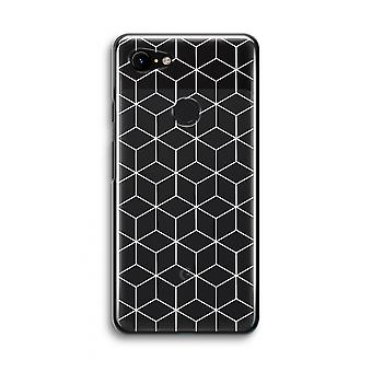 Google Pixel 3 Transparent Case (Soft) - Cubes black and white