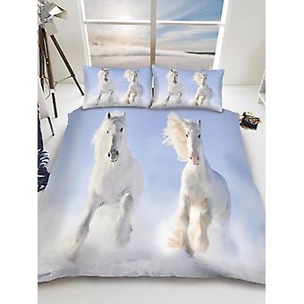 Funda de edredón individual de caballos blancos y juego de funda de almohada