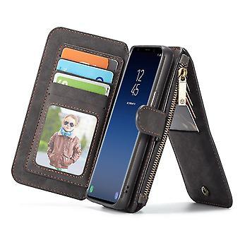 أسود ريترو الحصان محكم محفظة جلدية للانفصال لسامسونج غالاكسي S9 القضية