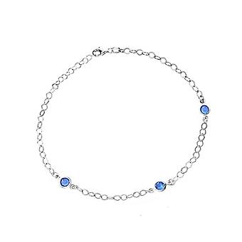 925 Sterling Silver Rhodium Plated Rhodium Fancy Blue CZ Cubic Zirconia Simulated Diamond Station Anklet Jewelry Gifts f