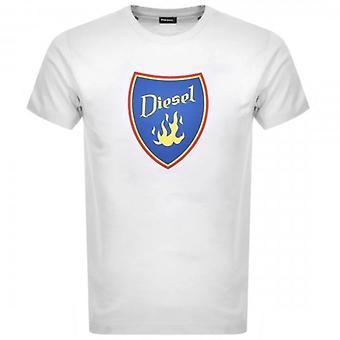 Diesel T-DIEGO-B2 Logo Printed T-Shirt White