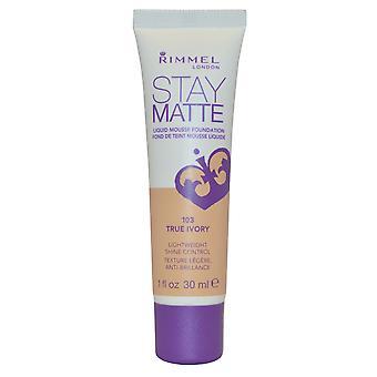 Rimmel London Stay Matte Liquid Mousse Foundation Shine Control 30ml True Ivory #103