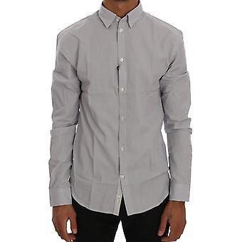 Frankie Morello White Blue Check Casual Cotton Regular Fit Shirt