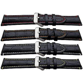 Premier alligator grain watch strap padded colour stitched black calf leather