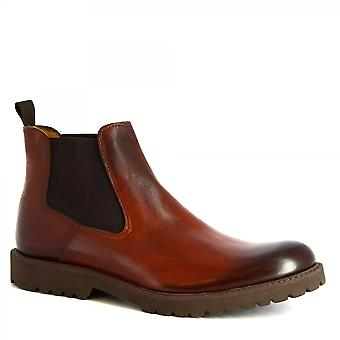 Leonardo Shoes Men's handmade elegant ankle boots in brown calf leather