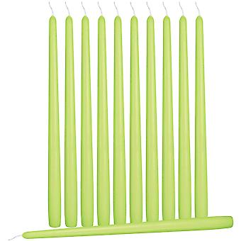 12 Lime Green Tapered Candles - 25cm Tall - 2.3cm Wide