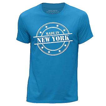 STUFF4 Men-apos;s Round Neck T-Shirt/Made In New York/Blue