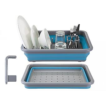 Summit Pop! Collapsible Dish Drainer with Draining System Blue/Grey