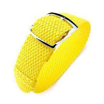ストラップコードファブリックウォッチストラップ20mmミルタットパーロンウォッチストラップ、黄色、磨かれたラダーロックスライダーバックル