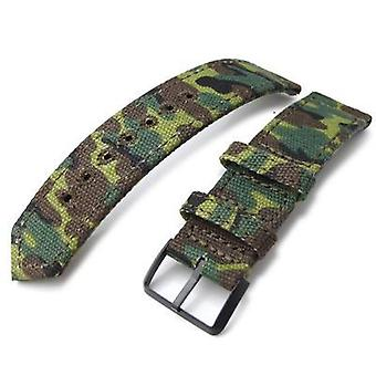 Strapcode fabric watch strap 20mm, 21mm or 22mm miltat ww2 2-piece erdl camouflage canvas watch band with lockstitch round hole, pvd black