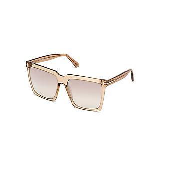 Tom Ford Sabrina-02 TF764 57G Shiny Beige/Brown Mirror Okulary przeciwsłoneczne
