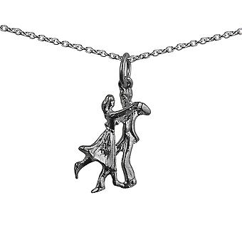 Silver 20x12mm Ballroom Dancers Pendant with a rolo Chain 24 inches