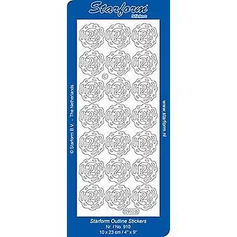 Starform Stickers Jubilee 3: 12,5 (10 Sheets) - Silver - 0910.002 - 10X23CM
