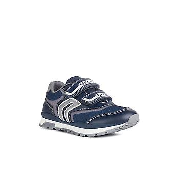 Geox Kids J Pavel A Touch Fastening Trainer Navy/Grey