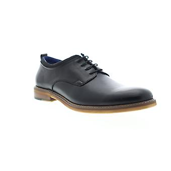 Zanzara Stuart  Mens Black Leather Casual Lace Up Oxfords Shoes