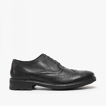 Roamers Silas Mens Couro Brogue Lace Up Oxford Shoes Black