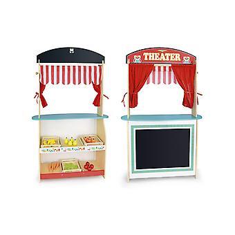 Leomark dřevěný obchod a divadlo 2 v 1 Play Set